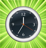 Wall clock green burst vector background — Stock Vector
