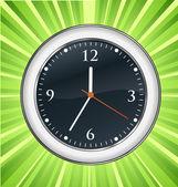 Fondo pared reloj verde ráfaga vector — Vector de stock