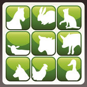 Farm animals vector icon button set — Vettoriale Stock