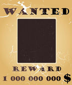 Old west wanted poster vector background with photo space — Vecteur