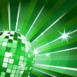 Disco ball on green light burst and glitter stars - Stock Vector