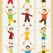Happy kids boys vector set — Stock Vector