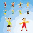 Happy kids boys vector set in sky — Stock Vector