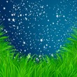 Grass and stars vector background - Stock Vector
