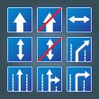 Blue direction traffic sign collection vector — Stock Vector