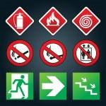 Emergency fire exit door and exit door, sign with human figure — Stock Vector