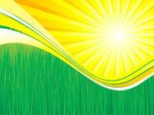 Grönt gräs och solen våren bakgrund vektor — Stockvektor