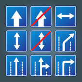 Blue direction traffic sign collection vector — Stok Vektör