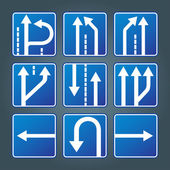 Blue direction traffic sign collection vector — Vettoriale Stock