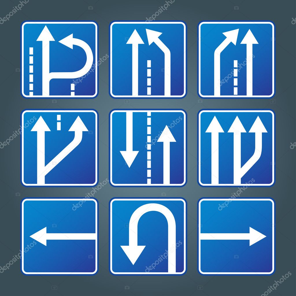 Blue direction traffic sign collection vector for poster — Stok Vektör #3608107