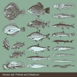 Royalty-Free Stock Vector Image: Fish vector set background