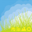 Royalty-Free Stock Vector Image: Eco cloud background with green elements