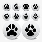 Collection d'animaux pied imprime icônes vectorielles — Vecteur