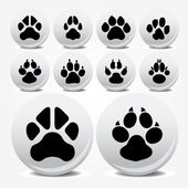 Collection of animal foot prints vector icons — Stockvektor