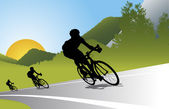Biker silhouette vector background for poster — Stock Vector