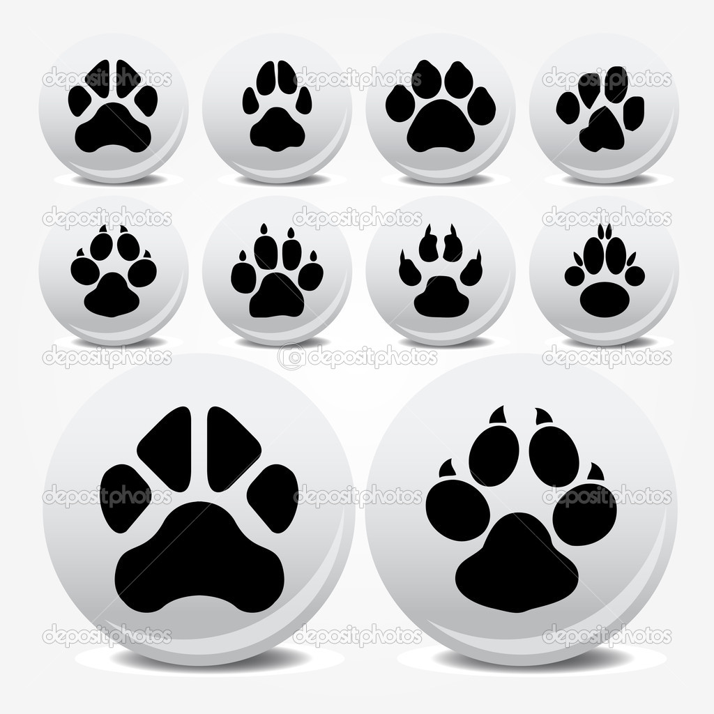 Collection of animal foot prints vector icons for poster — Stock Vector #3626121