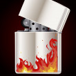 Lighter with flame — Stock Vector