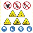 Construction hazard signs — Stock Vector