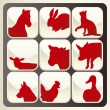 Stock Vector: Farm animals vector icon button set