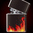 Lighter with flame - Stock Vector