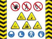 Construction hazard signs — Stock Vector