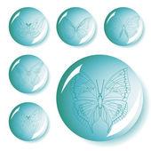 Uppsättning av fjärilar-knappen — Stockvektor