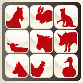 Farm animals vector icon button set — Stock Vector