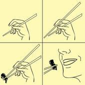 Illustration vectorielle de mains avec manuel de baguettes — Vecteur