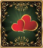 Fondo vintage vertical con corazones para la cubierta del libro — Vector de stock