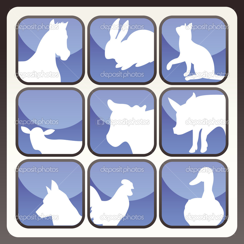 Farm animals vector icon button set for poster  Vettoriali Stock  #3630023