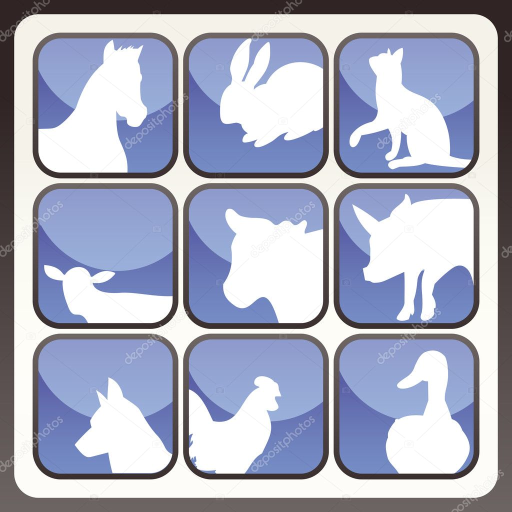 Farm animals vector icon button set for poster — Imagen vectorial #3630023