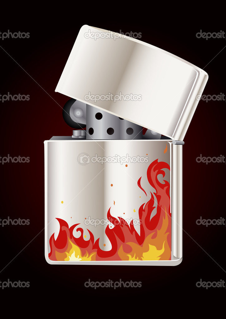 Lighter with flame for poster or card — Stock Vector #3632375