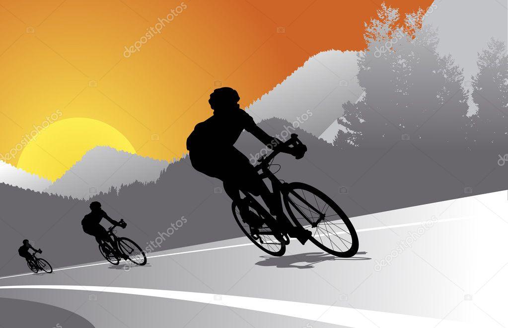 Biker silhouette vector background — Stock Vector ...
