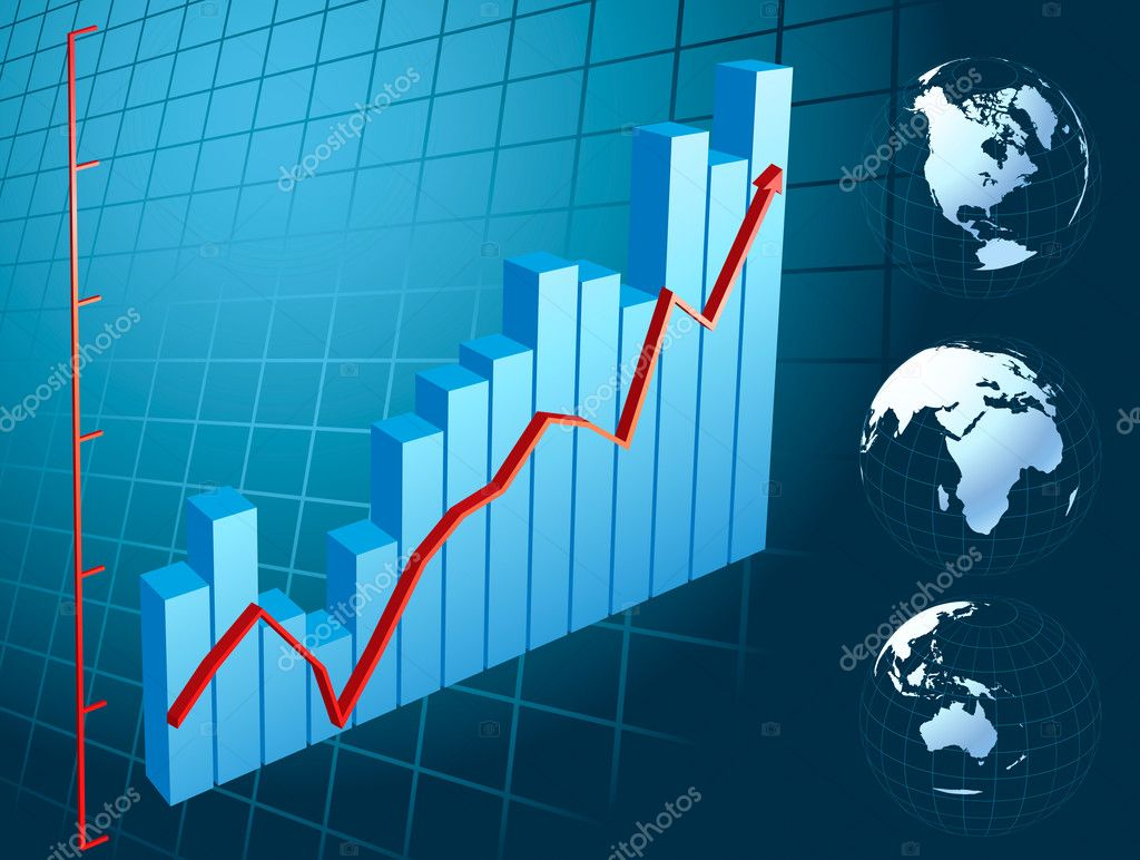 Business Graph with arrow showing profits and gains for poster or card  Stock Vector #3644444