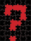 Conceito de campo de puzzle ponto de interrogação para vetor de cartaz — Vetorial Stock