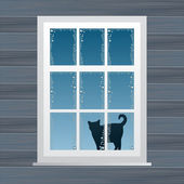 Cat near windows in winter for poster or card vector — Stock Vector