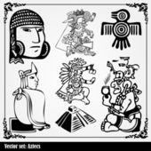 Vector set - American Indian national patterns — Stock Vector