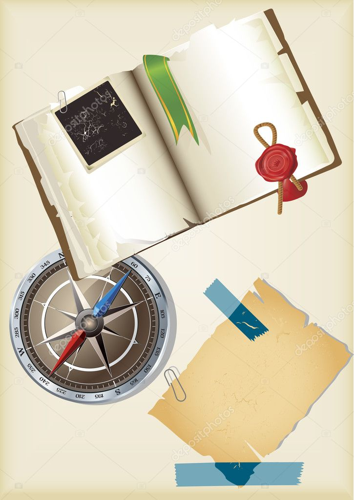 Open vintage Book with bookmark and stamp isolated on wood table and compass — Stock Vector #3657748