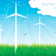 Windmills alternative energy background vector — Stock Vector