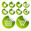 Green eco icon shopping button set - Stok Vektör