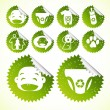 Green eco Baby friendly Icon set vector — Vector de stock