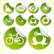 Glossy ecology eco icon set vector stickers — Stock Vector