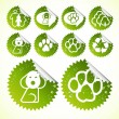 Glossy ecology eco icon set vector — Stock Vector
