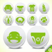 Green eco Baby friendly Icon set vector — Stock Vector