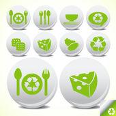 Eco restaurant icônes bouton set — Vecteur