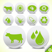Bio milk eco icon set vector — Stock Vector