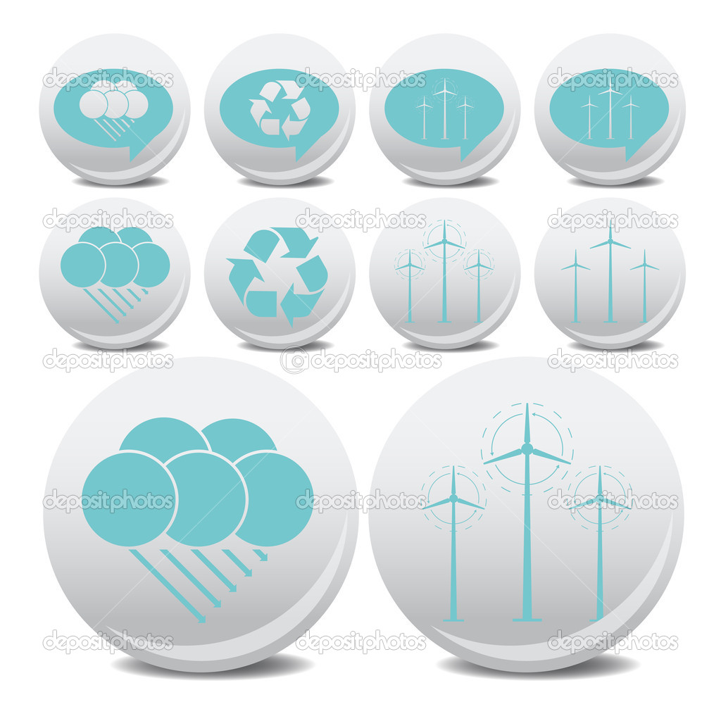 Wind energy vector icon and clouds for poster — Stock Vector #3687092