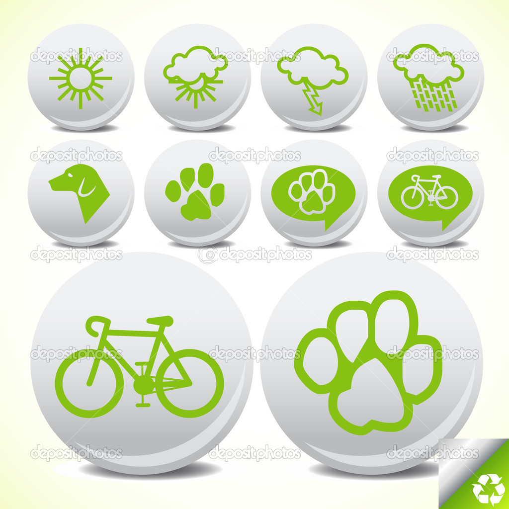 Vector illustration of green ecology icon set for tourism for poster — Stock Vector #3687138