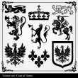 Silhouettes of heraldic elements - Stock Vector