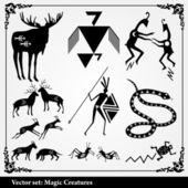 Silhouettes of heraldic elements — Stock Vector